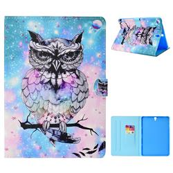 Cute Feather Owl Folio Flip Stand Leather Wallet Tablet Case Cover for Samsung Galaxy Tab S3 9.7 T820 T825