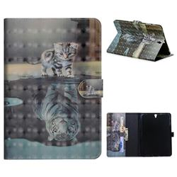 Tiger and Cat 3D Painted Leather Tablet Wallet Case for Samsung Galaxy Tab S3 9.7 T820 T825