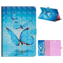Blue Sea Butterflies 3D Painted Leather Tablet Wallet Case for Samsung Galaxy Tab S3 9.7 T820 T825