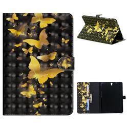 Golden Butterfly 3D Painted Leather Tablet Wallet Case for Samsung Galaxy Tab S3 9.7 T820 T825