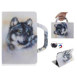 Snow Wolf Handbag Tablet Leather Wallet Flip Cover for Samsung Galaxy Tab S4 10.5 T830 T835
