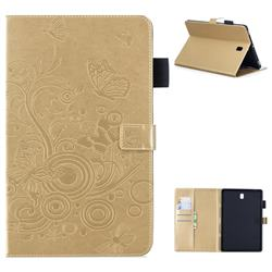 Intricate Embossing Butterfly Circle Leather Wallet Case for Samsung Galaxy Tab S4 10.5 T830 T835 - Champagne