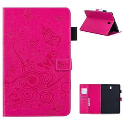 Intricate Embossing Butterfly Circle Leather Wallet Case for Samsung Galaxy Tab S4 10.5 T830 T835 - Red