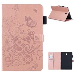 Intricate Embossing Butterfly Circle Leather Wallet Case for Samsung Galaxy Tab S4 10.5 T830 T835 - Rose Gold