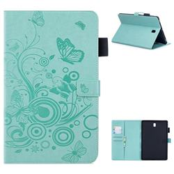 Intricate Embossing Butterfly Circle Leather Wallet Case for Samsung Galaxy Tab S4 10.5 T830 T835 - Cyan