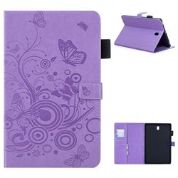 Intricate Embossing Butterfly Circle Leather Wallet Case for Samsung Galaxy Tab S4 10.5 T830 T835 - Purple