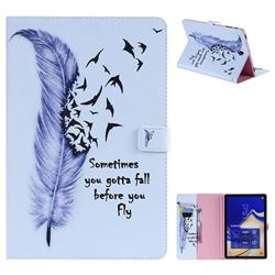 Feather Birds Folio Flip Stand Leather Wallet Case for Samsung Galaxy Tab S4 10.5 T830 T835
