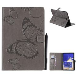 Embossing 3D Butterfly Leather Wallet Case for Samsung Galaxy Tab S4 10.5 T830 T835 - Gray