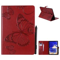 Embossing 3D Butterfly Leather Wallet Case for Samsung Galaxy Tab S4 10.5 T830 T835 - Red
