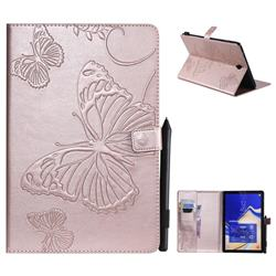 Embossing 3D Butterfly Leather Wallet Case for Samsung Galaxy Tab S4 10.5 T830 T835 - Rose Gold