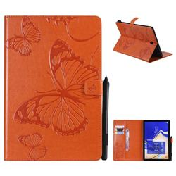 Embossing 3D Butterfly Leather Wallet Case for Samsung Galaxy Tab S4 10.5 T830 T835 - Orange