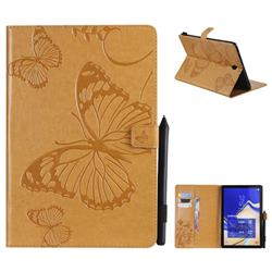 Embossing 3D Butterfly Leather Wallet Case for Samsung Galaxy Tab S4 10.5 T830 T835 - Yellow