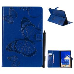 Embossing 3D Butterfly Leather Wallet Case for Samsung Galaxy Tab S4 10.5 T830 T835 - Blue
