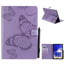 Embossing 3D Butterfly Leather Wallet Case for Samsung Galaxy Tab S4 10.5 T830 T835 - Purple