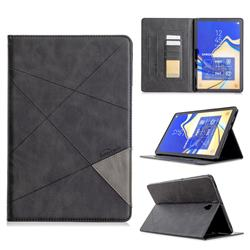 Binfen Color Prismatic Slim Magnetic Sucking Stitching Wallet Flip Cover for Samsung Galaxy Tab S4 10.5 T830 T835 - Black