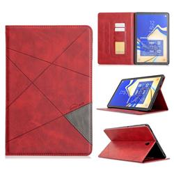 Binfen Color Prismatic Slim Magnetic Sucking Stitching Wallet Flip Cover for Samsung Galaxy Tab S4 10.5 T830 T835 - Red