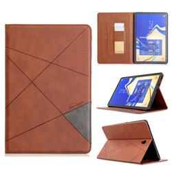 Binfen Color Prismatic Slim Magnetic Sucking Stitching Wallet Flip Cover for Samsung Galaxy Tab S4 10.5 T830 T835 - Brown