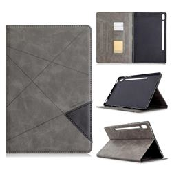 Binfen Color Prismatic Slim Magnetic Sucking Stitching Wallet Flip Cover for Samsung Galaxy Tab S6 10.5 T860 T865 - Gray