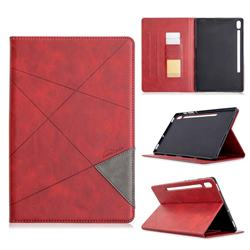 Binfen Color Prismatic Slim Magnetic Sucking Stitching Wallet Flip Cover for Samsung Galaxy Tab S6 10.5 T860 T865 - Red