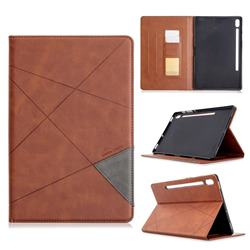 Binfen Color Prismatic Slim Magnetic Sucking Stitching Wallet Flip Cover for Samsung Galaxy Tab S6 10.5 T860 T865 - Brown