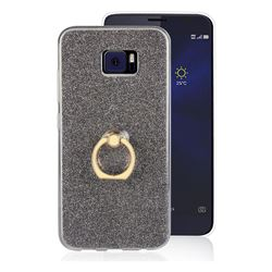Luxury Soft TPU Glitter Back Ring Cover with 360 Rotate Finger Holder Buckle for Asus Zenfone V V520KL - Black