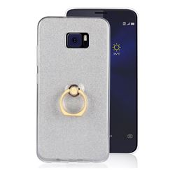 Luxury Soft TPU Glitter Back Ring Cover with 360 Rotate Finger Holder Buckle for Asus Zenfone V V520KL - White