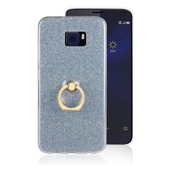 Luxury Soft TPU Glitter Back Ring Cover with 360 Rotate Finger Holder Buckle for Asus Zenfone V V520KL - Blue