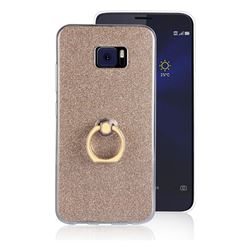 Luxury Soft TPU Glitter Back Ring Cover with 360 Rotate Finger Holder Buckle for Asus Zenfone V V520KL - Golden