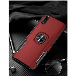 Knight Armor Anti Drop PC + Silicone Invisible Ring Holder Phone Cover for vivo V11 (V11 Pro, Vivo X21s) - Red