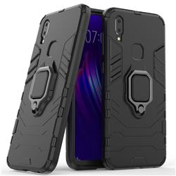Black Panther Armor Metal Ring Grip Shockproof Dual Layer Rugged Hard Cover for vivo V11i - Black
