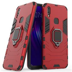 Black Panther Armor Metal Ring Grip Shockproof Dual Layer Rugged Hard Cover for vivo V11i - Red