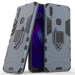 Black Panther Armor Metal Ring Grip Shockproof Dual Layer Rugged Hard Cover for vivo V11i - Blue