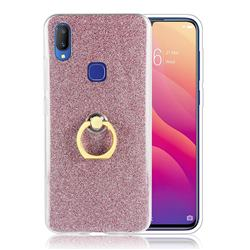Luxury Soft TPU Glitter Back Ring Cover with 360 Rotate Finger Holder Buckle for vivo V11i - Pink
