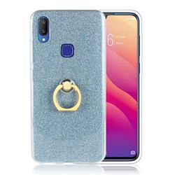 Luxury Soft TPU Glitter Back Ring Cover with 360 Rotate Finger Holder Buckle for vivo V11i - Blue