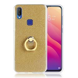 Luxury Soft TPU Glitter Back Ring Cover with 360 Rotate Finger Holder Buckle for vivo V11i - Golden