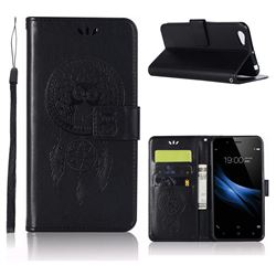 Intricate Embossing Owl Campanula Leather Wallet Case for Vivo V5 Lite(Vivo Y66) - Black