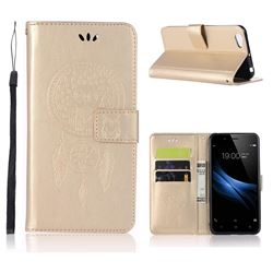 Intricate Embossing Owl Campanula Leather Wallet Case for Vivo V5 Lite(Vivo Y66) - Champagne