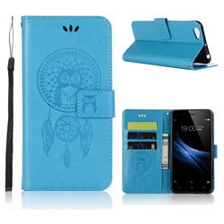 Intricate Embossing Owl Campanula Leather Wallet Case for Vivo V5 Lite(Vivo Y66) - Blue