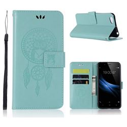 Intricate Embossing Owl Campanula Leather Wallet Case for Vivo V5 Lite(Vivo Y66) - Green