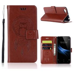 Intricate Embossing Owl Campanula Leather Wallet Case for Vivo V5 Lite(Vivo Y66) - Brown