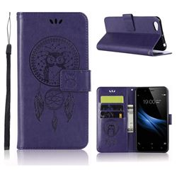 Intricate Embossing Owl Campanula Leather Wallet Case for Vivo V5 Lite(Vivo Y66) - Purple