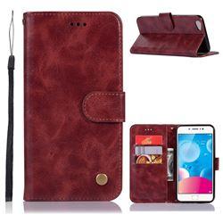 Luxury Retro Leather Wallet Case for Vivo V5 Lite(Vivo Y66) - Wine Red