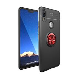 Auto Focus Invisible Ring Holder Soft Phone Case for Vivo V9 - Black Red
