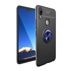 Auto Focus Invisible Ring Holder Soft Phone Case for Vivo V9 - Black Blue