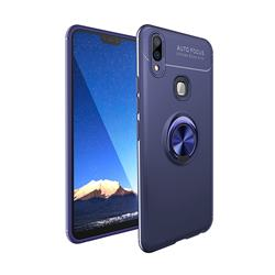 Auto Focus Invisible Ring Holder Soft Phone Case for Vivo V9 - Blue