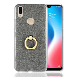 Luxury Soft TPU Glitter Back Ring Cover with 360 Rotate Finger Holder Buckle for Vivo V9 - Black