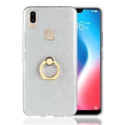 Luxury Soft TPU Glitter Back Ring Cover with 360 Rotate Finger Holder Buckle for Vivo V9 - White
