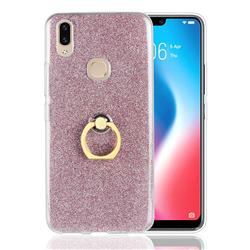 Luxury Soft TPU Glitter Back Ring Cover with 360 Rotate Finger Holder Buckle for Vivo V9 - Pink