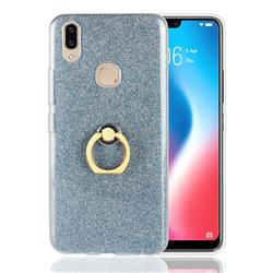 Luxury Soft TPU Glitter Back Ring Cover with 360 Rotate Finger Holder Buckle for Vivo V9 - Blue