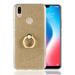 Luxury Soft TPU Glitter Back Ring Cover with 360 Rotate Finger Holder Buckle for Vivo V9 - Golden